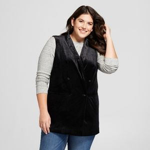 NWT A New Day Women's Black Plus Size Velvet Vest
